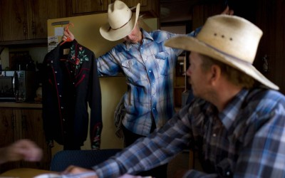 Selecting shirts, John and Julie Neumann, Cactus Flat, South Dakota.