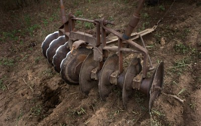 Madison County, Arkansas: A horse-drawn disk harrow on the Courteaus' farm prepares a field to be sown with winter rye grass.