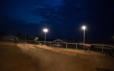 Springdale, Arkansas:  Friends and neighbors stop by the Moores' arena with their horses to practice riding and steer roping.