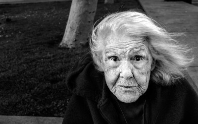 Eva Pilarski, 91, had left a convalescent home in Sacramento to live in an apartment in San Francisco. She waits for handouts from the Sisters of Notre Dame, who give food to the poor.