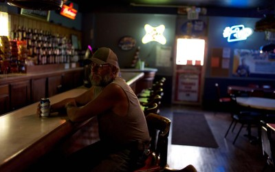 Hay Springs, Nebraska.August 27, 2012..Jim Mracek, a caretaker for a local cattle ranch, has a beer at the end of the day at the one bar in town.