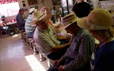 Rushville, Nebraska August 29, 2012  Buyers and sellers at the weekly livestock auction take a break for lunch at the auction diner.