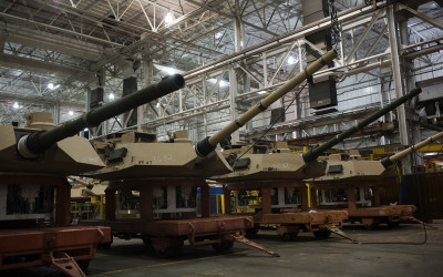 Turrets near completion.  The Joint Systems Manufacturing Center (US Army Tank Plant) which is the only heavy armored tank factory in the United States. They build and refurbish Abrams tanks, Stryker armored personnel carriers, and other weapons systems.