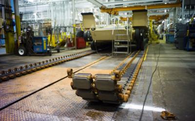 Caterpillar tracks of the Abrams tank.