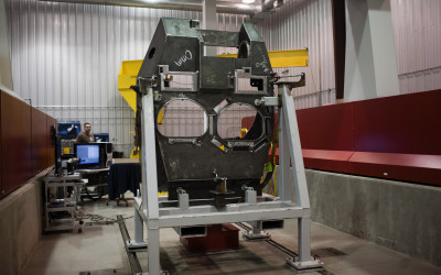 Precision laser welding on Abrams turret.