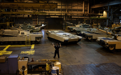 Abrams tanks near completion.
