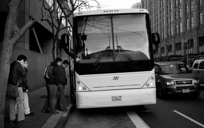 """""""Twitter Bus"""" picks up workers at Market and Ninth."""