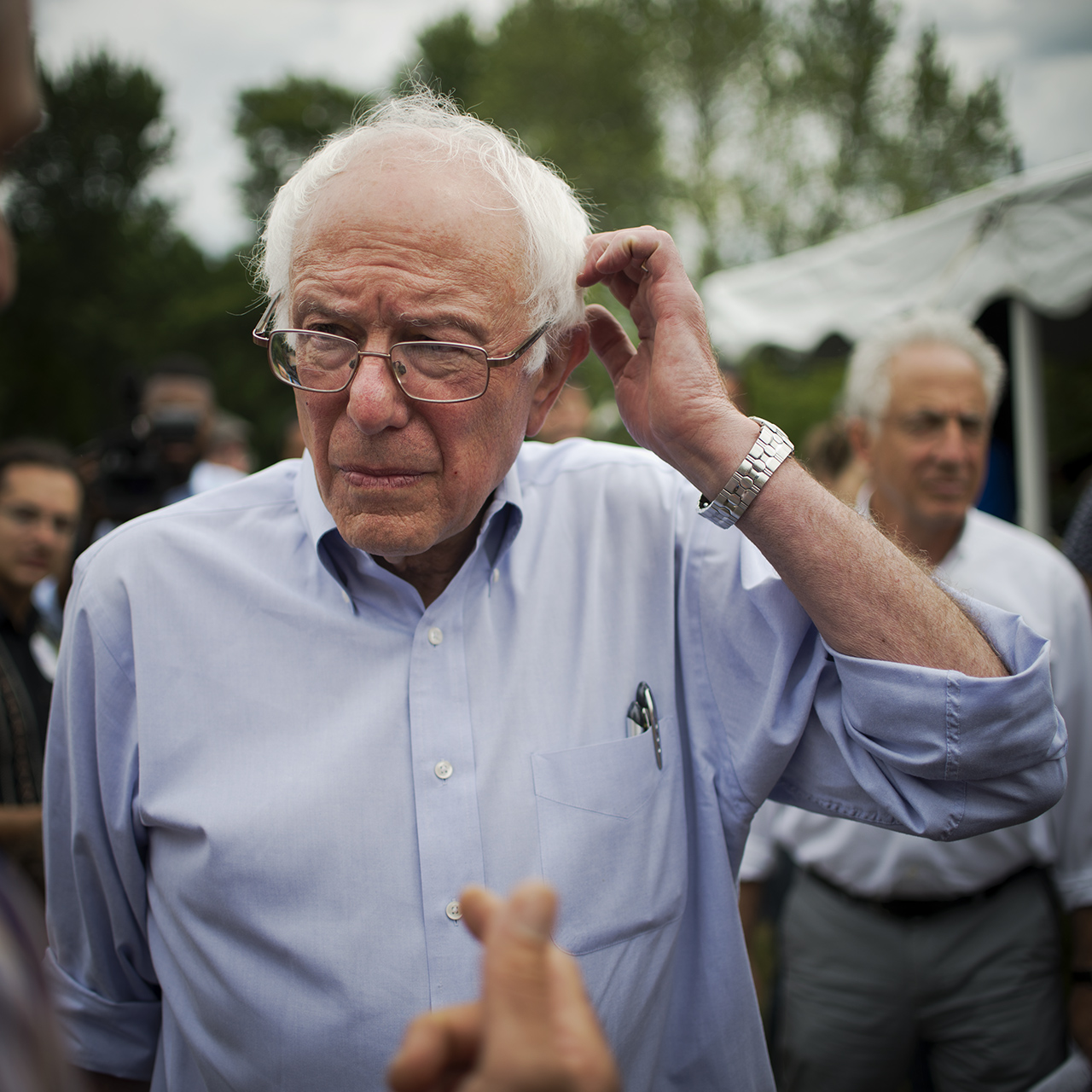 Bow, New Hampshire; June 27, 2015: Presidential candidate Senator Bernie Sanders of Vermont campaigns in neighboring New Hampshire. 125-150 people attended the Sanders' campaign's  house party at the home of Ron and Meredith Abramson. Senator Sanders after his speech.